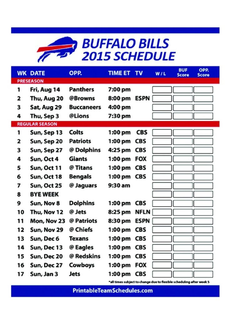 Buffalo Bills Football 2015 Regular NFL Season Schedule