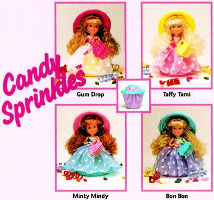 Cupcake dolls by Tonka had scented hair and flexible reversible cupcake-tin liner bases.