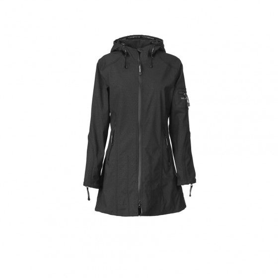 Hip-length softshell raincoat
