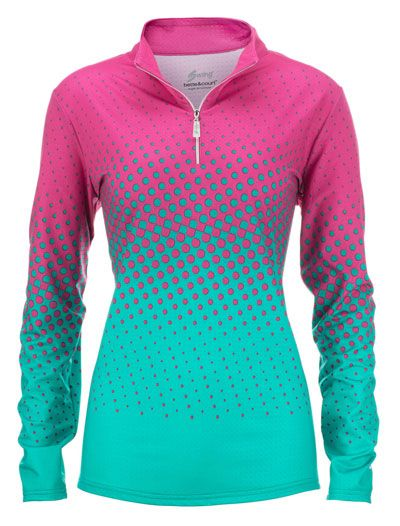 Time to shine for this hot pink Bette & Court/Swing Ladies & Plus Size Long Sleeve Printed Golf Shirt! Definitely a must-have!