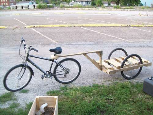 From Instructables ... a wood pallet trailer..how to (this would be nifty for my son's kayak)