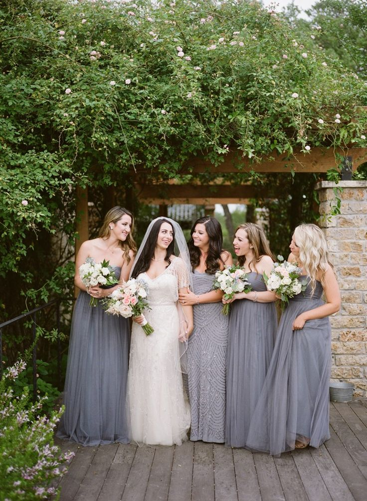 Bride & Dusky Blue Bridesmaids