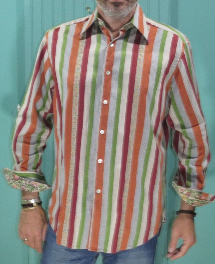 Robert Graham Sport Shirt Embroidered Striped Contrast Cuffs #RobertGraham #ButtonFront