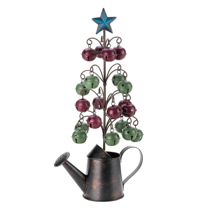 10015295 www.tiffgifts.com  Watering can jingle bell tree. Celebrate the Yuletide with oodles of country charm. A wire tree sprouts from the rustic watering can base, and each branch holds a country red or mossy green jingle bell.