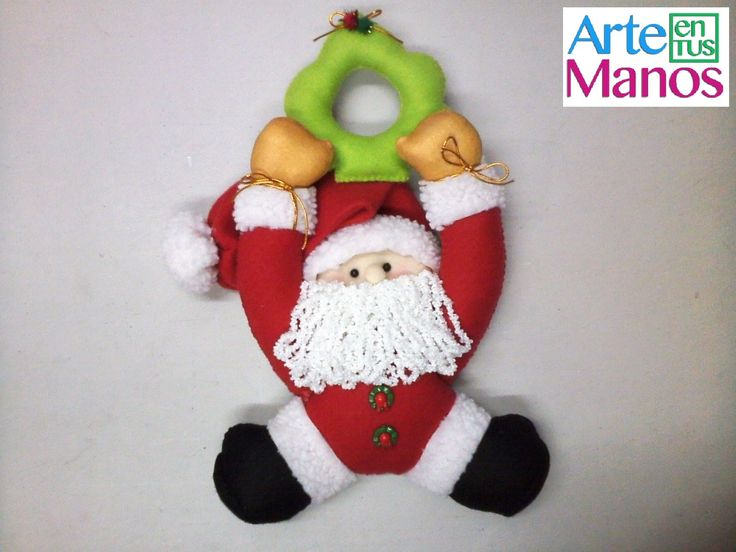 Vamos decorar com Papai Noel - portas Colga feltro , Step by Step