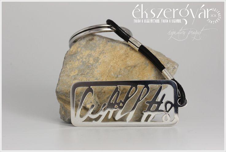 Aláírás ezüst kulcstartó. Signature sterling silver keychain.