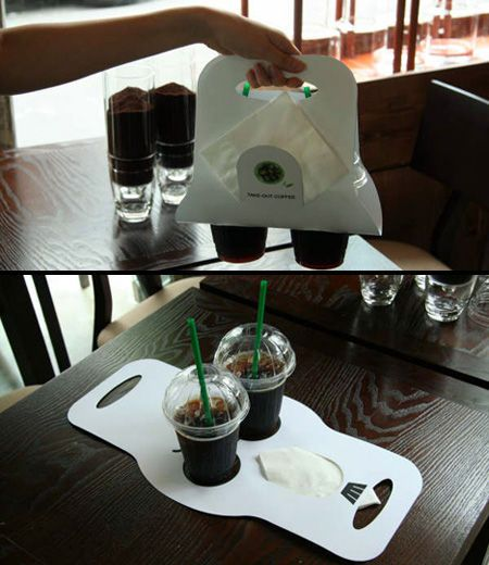 Takeout packaging for coffee. So clever.