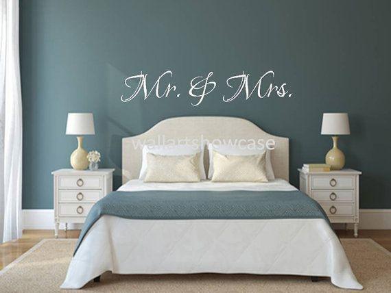 Mr.  Mrs. Queen size master bedroom wall vinyl by WallArtShowcase, $46.95