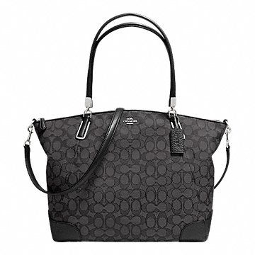 KELSEY SATCHEL IN SIGNATURE. 12 1/4 X 7 1/2 x 4 3/4. Black and Grey. This is a nice purse to carry. Will hold everything you need.