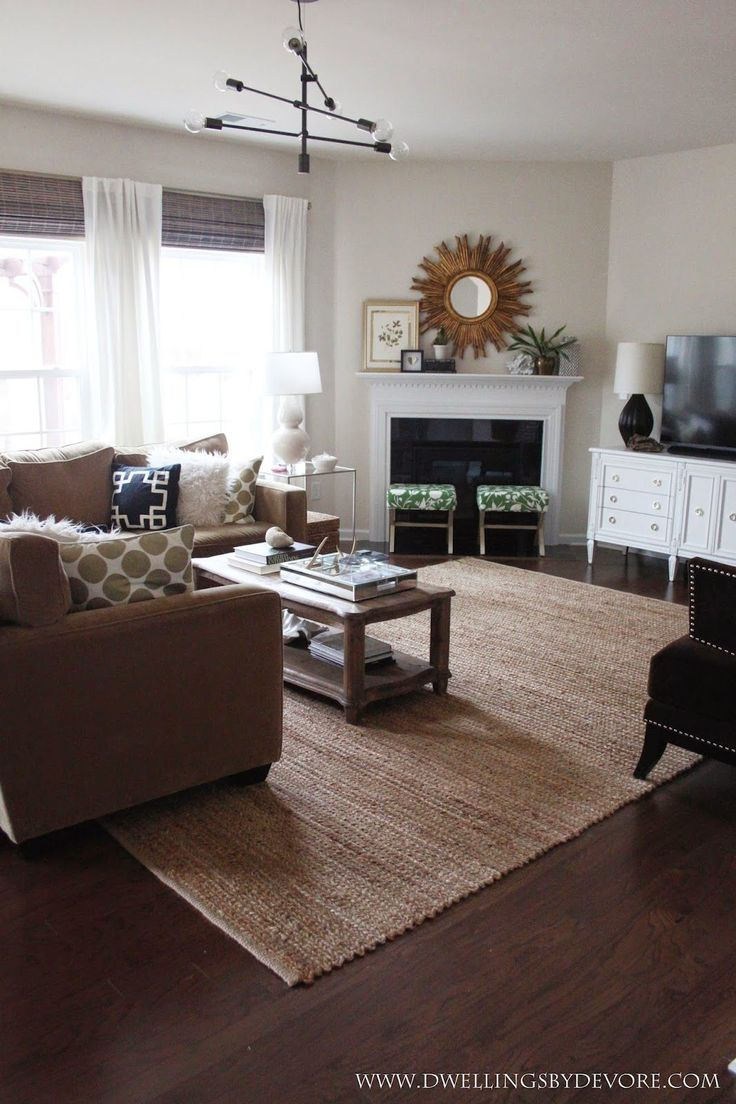 how do you place a rug in a living room