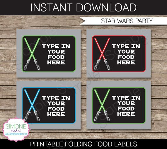 Star Wars Party Food Label or Food Buffet Tag  by SIMONEmadeit, $3.50