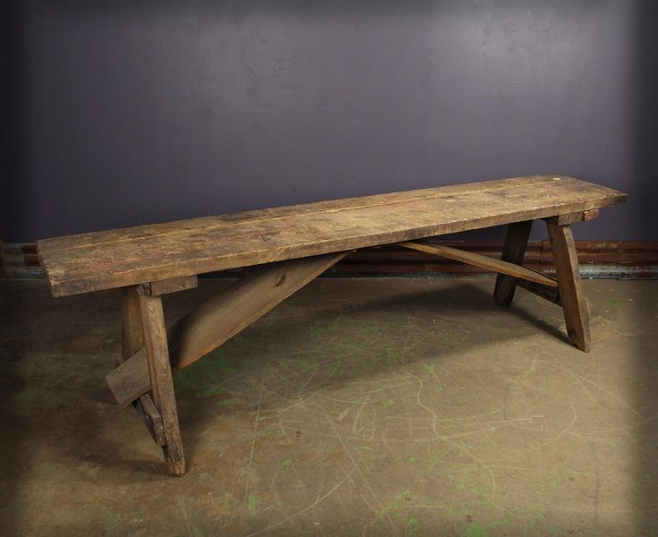 Vintage Industrial Wooden Picnic Table Lunchroom Table