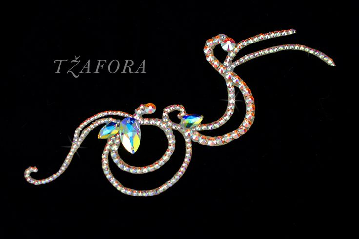 Ballroom hair accessories and ballroom jewelry made with Swarovski, available at www.tzafora.com © 2015 Tzafora