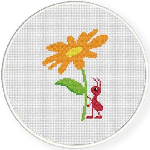 Flower Ant Cross Stitch Pattern