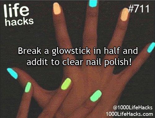 DIY - Glow in the dark nail polish.