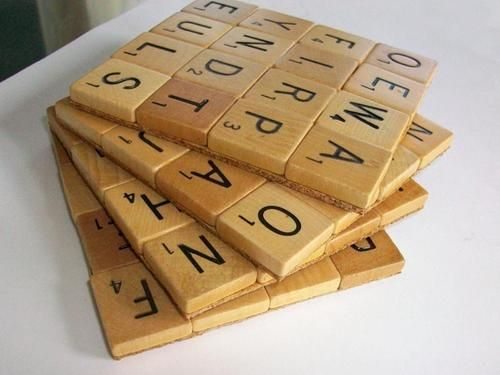 Scrabble tiles coaster - my dad and sister would love these!!