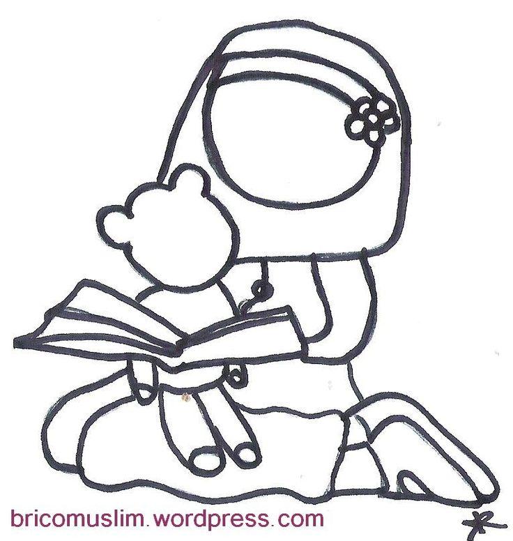 coloriage lecture du coran avec son doudou