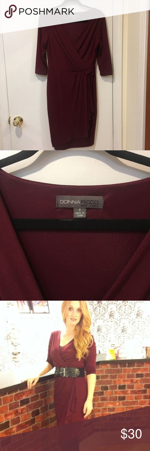 Donna Ricco maroon dress Maroon wrap style dress- synched at the waist. Very flexible with price so make an offer! Donna Ricco Dresses Midi