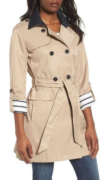 contrast collar trench coat by Vince Camuto. Updated in a shorter length for spring, this trench coat features a contrast collar and roll-tab sleeves that reveal charming stripes when cuffed. Style Name: Vince Camuto Contrast Collar Trench Coat. Style Number: 5541378. Available in ... #vincecamuto #coats #outerwear