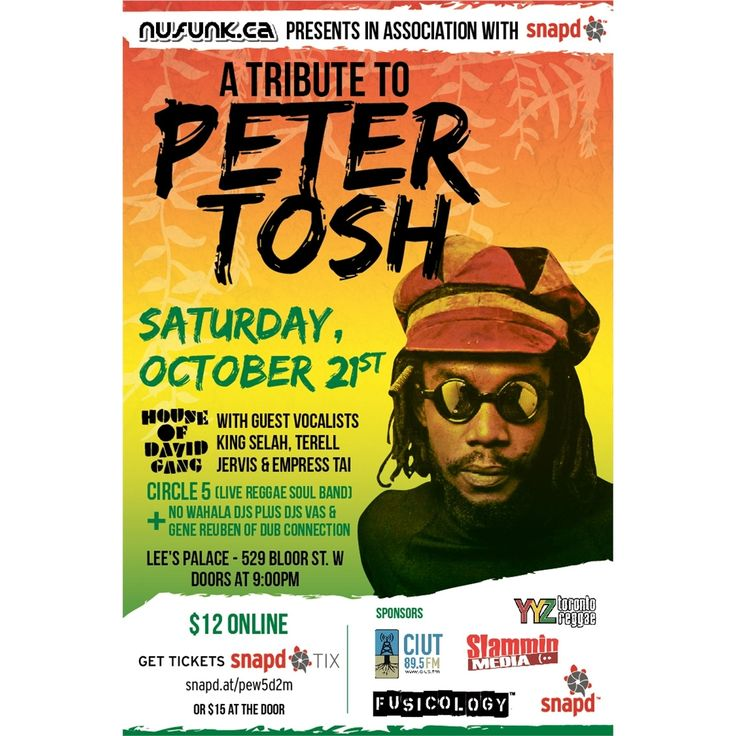 TONIGHT! Annual Peter Tosh Tribute featuring House of David Gang, Circle5, No Wahala DJs and Dub Connection DJs Vas and Gene Reuben Saturday, October 21st at Lee's Palace.  Its been 30 years since reggae icon Peter Tosh was assassinated and the world lost a leading musical voice who's influence is still felt today. On October 21st we pay Tribute to Tosh's life and legacy.  #petertosh #reggae #wailers #houseofdavidgang #torontoreggae #toronto #416 #tosh #slamminevent #slamminmedia