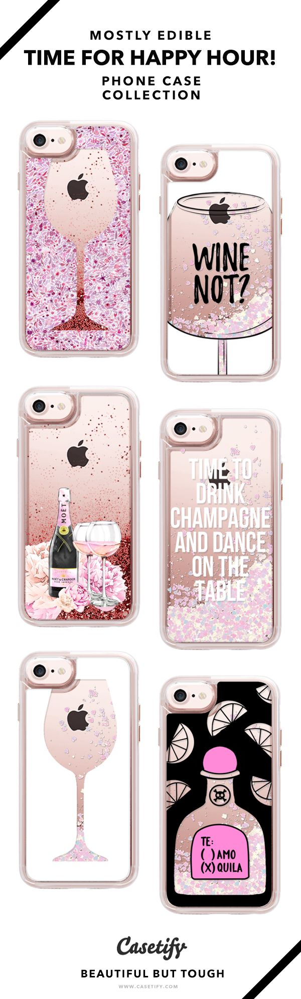 Why Limited Happy To An Happy Hour?! | So glittery & shiny phone case collection - iPhone 6/6s/7/7+ AND MORE! Shop them here ☝️☝️☝️ BEAUTIFUL BUT TOUGH ✨ - Champagne, Wine, Drinks, Shiny, Glittery, Glam, Girl's Night, Night Life