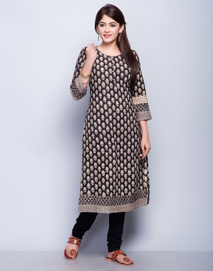 Cotton Khadi FabricBagru PrintRound Neck with Loop Button3Q SleevesA-Line FitHand Wash Separately in Cold Water