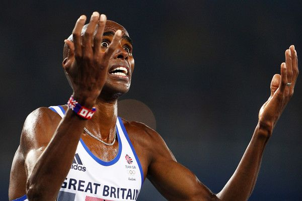 Mohamed Farah of Great Britain reacts after winning gold in the Men's 5000 meter Final on Day 15 of the Rio 2016 Olympic Games at the Olympic Stadium on August 20, 2016 in Rio de Janeiro, Brazil. (Aug. 19, 2016 - Source: Ian Walton/Getty Images South America)