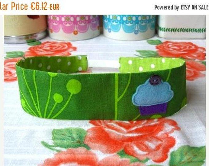 ON SALE Green Cupcake Hairband - Felt Cupcake Headband - Reversible Green Hairband - Print Cotton Hairband - Fabric Headband - Fabric Hairba