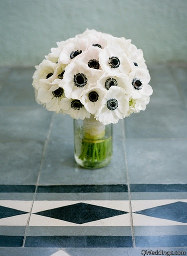 Pictured are white anemones with dark centers. These beautiful flowers are available for the most part year-round; however, there can be gaps in production where anemones are not available. Visit GrowersBox.com for more information on these stunning wedding flowers.: White Anemones, White Flowers, Wedding Bouquets, Black And White, White Bouquets, Bridal Bouquets White, Bridesmaid Bouquets, White Bridal Bouquets, Anemone Bouquet
