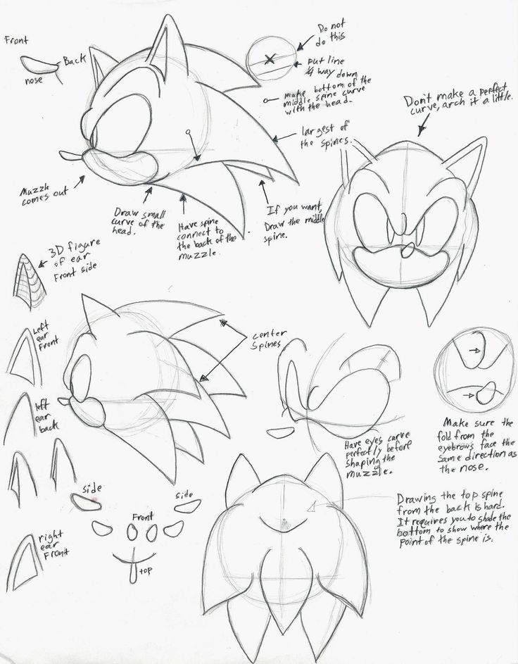 how to draw sonic part 1