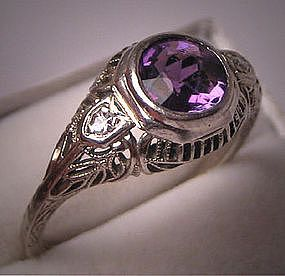 Antique Diamond Ring, Art Deco Signed Belais Vintage Wedding Ring with Amethyst Center and 18K Filigree Setting, circa 1910-20's, $1285