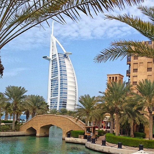 Dubai, Burj Al Arab from Madinat Jumeirah Mall