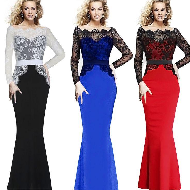 New Women Bodycon Bandage Evening Cocktail Party Long Sleeve Lace Fishtail Dress #Fashion #BallGownMaxiSexyLongDress #ClubwearCocktailFormalDressyPageantWedding