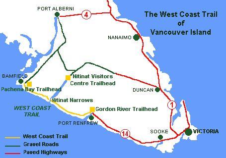 West Coast Trail, Pacific Rim National Park, British Columbia, Canada. Hiking the West Coast Trail