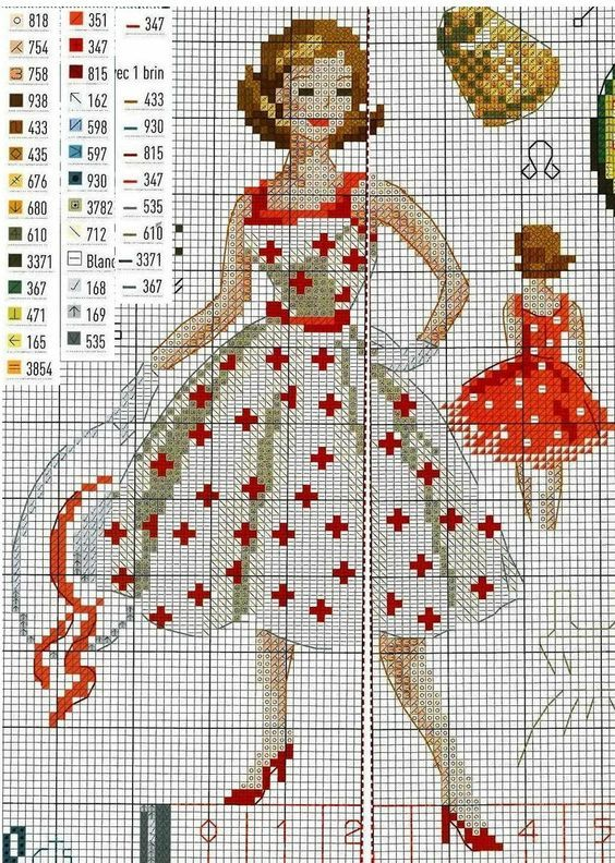 0 point de croix femme robe - cross stitch vintage lady in dress