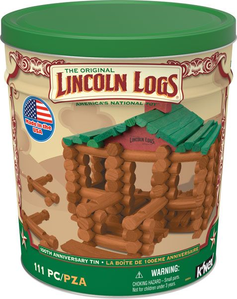 K'NEX Lincoln Logs 100th Anniversary Tin - Celebrate 100 years of LINCOLN LOGS® with this nostalgic set, just like you remember! Inspired by an original LINCOLN LOGS® building idea, the 100% made in the USA 100th Anniversary Tin captures the true essence of the LINCOLN LOGS® brand. This set comes in a collectible tin which makes for easy and quick clean-up once your builder is done. Most models can be built one at a time.