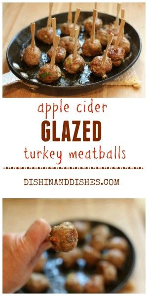 Brown Sugar Cider Glazed Turkey Meatballs make a healthy but delicious appetizer for your holiday parties!  #ComfortFoodFeast #FoodNetwork #Appetizer #Recipe #Meatballs #Healthy