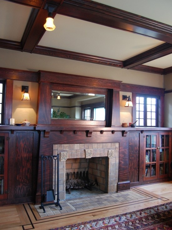 1000 ideas about craftsman living rooms on pinterest for Craftsman fireplace pictures