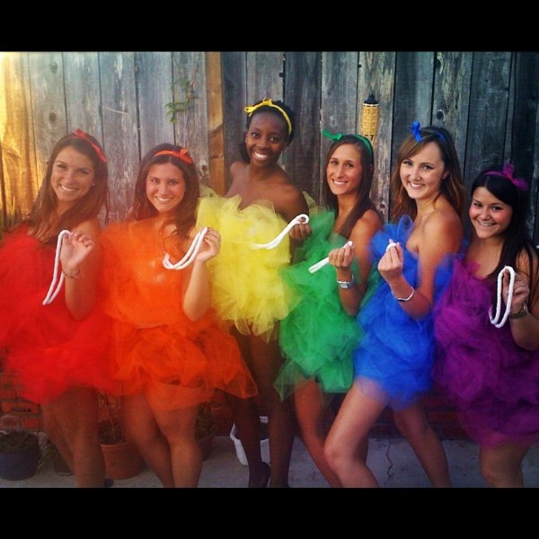 rainbow loofahs! this will definitely be an excellent costume for me and my gorgeous lady friends