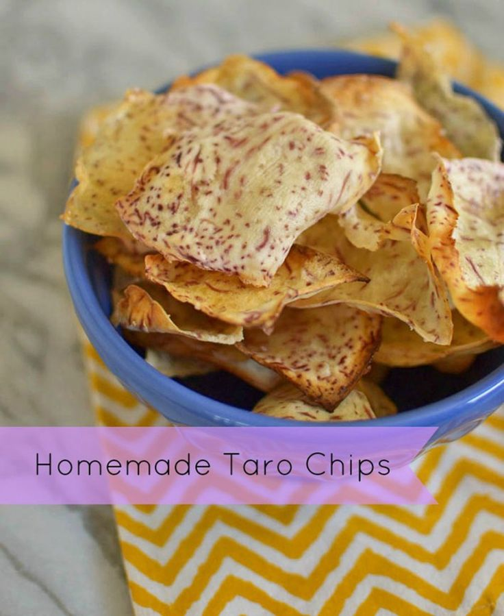 Homemade Taro Chips -1 lb peeled taro, Kosher (or Hawaiian) salt, to taste  Olive oil, for brushing +++  Bake in 400 F oven for 20 minutes until edges are crisp. Season with extra salt if desired. --I tried this w/the mandolin but could not get it thin enough for a fully cooked appetizing chip