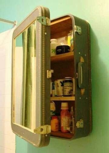 Bathroom medicine cabinet made from old suit case