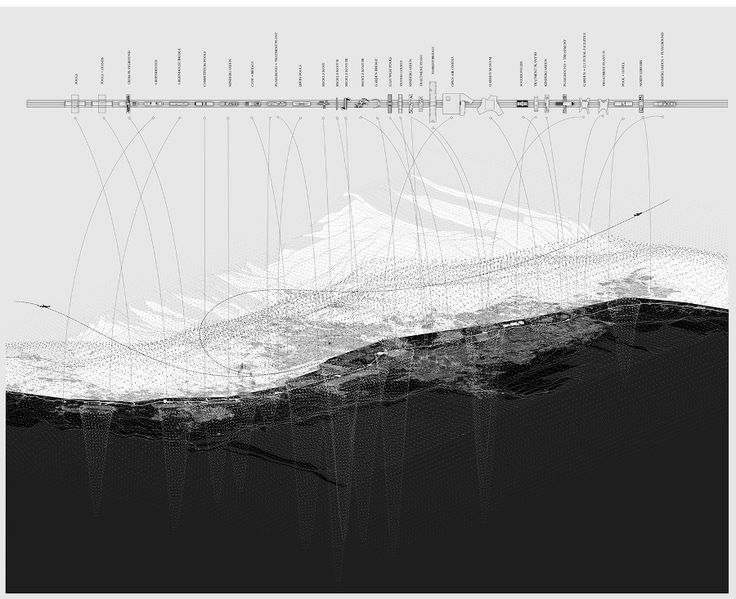 MEDELLIN / The river that is not - LCLA office; PLAN AND SECTION DIAGRAMMATIC HYBRID DRAWING