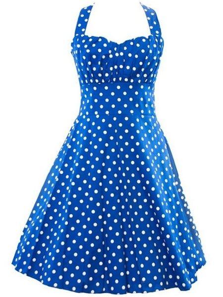Alluring Halter Bowknot Polka Dot Skater-dresses Skater Dresses from fashionmia.com