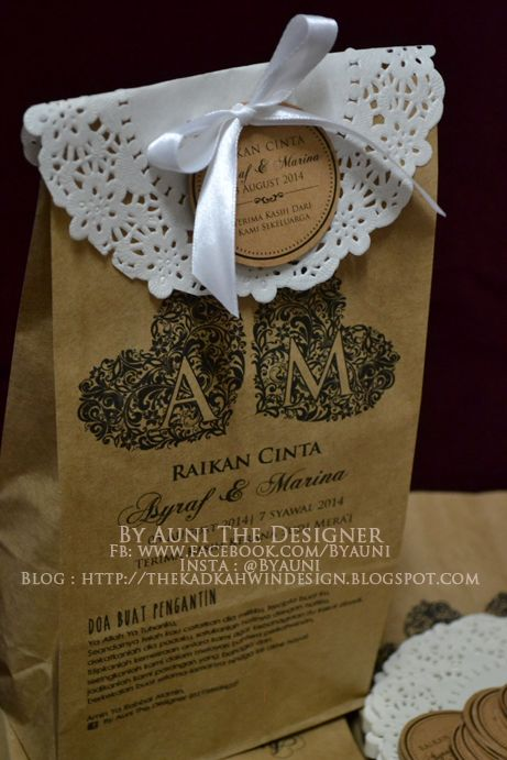 By Auni the Designer: Gorgeously kraft brown paper bag with doiley paper & kraft paper thank you tag (circle)