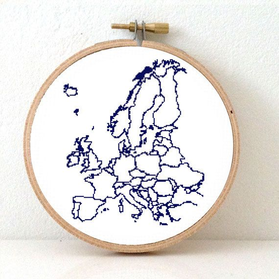 XL size EUROPE map modern cross stitch pattern.  DIY European embroidery. Europe Continent. Stitch as you travel!