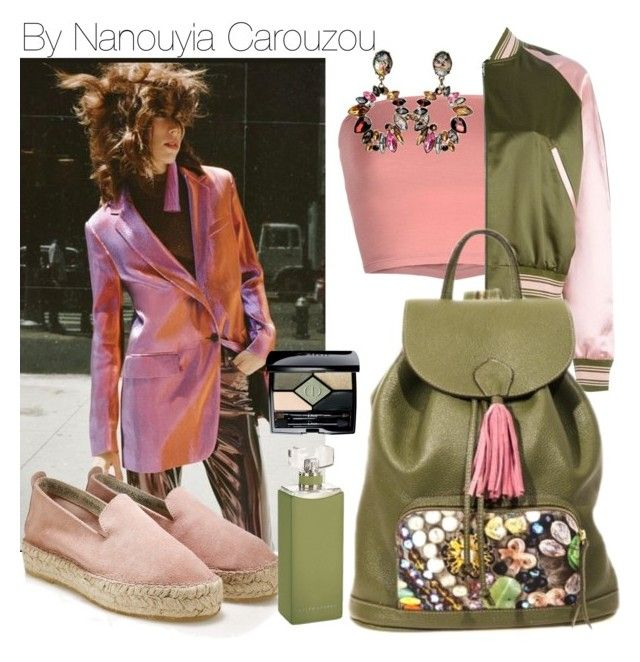 """""""Pink tassel baby, i have a unique backpack"""" by nanouyia ❤ liked on Polyvore featuring Annarita N., John Lewis, Ralph Lauren Collection, GREEN, bag, backpack and oil"""