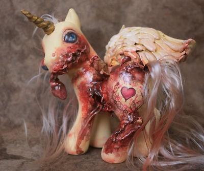 TRUE LOVE   My Little Pony Zombie Pegasus Custom MLP OOAK Valentine Heart Gore photo