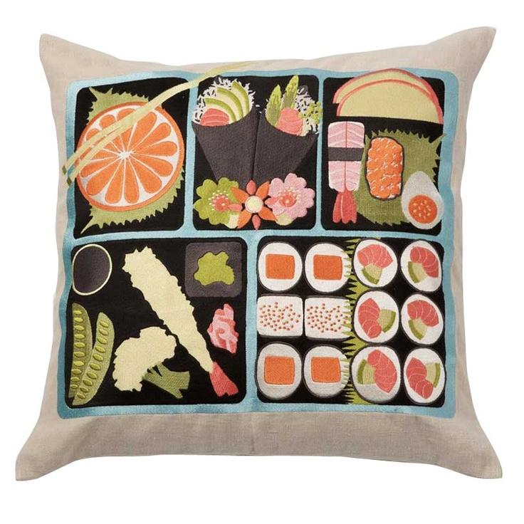 emma at home Bento Box Throw Pillow #sushipillow