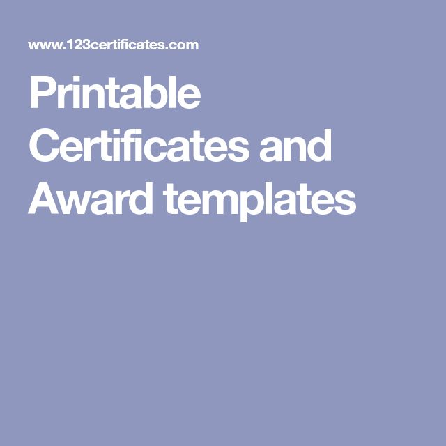 Printable Certificates and Award templates