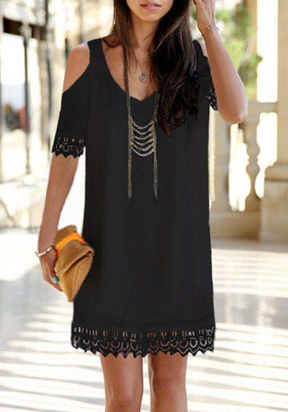 Chic V-Neck Pure Color Shoulder Cut Out Lace Hem Dress For Women